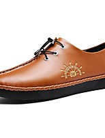 Men's Shoes PU Spring Fall Light Soles Oxfords Lace-up For Casual Sliver Brown Black