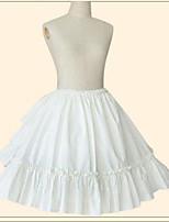 Rock Gothik Niedlich Vintage Inspirationen Elegant Prinzessin Cosplay Lolita Kleider Weiß Beige einfarbig Knielänge Rock Zum Baumwolle