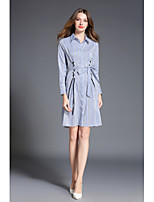 SHE IN SUN Women's Casual/Daily Chinoiserie Shirt Dress,Striped Shirt Collar Above Knee Long Sleeves Polyester Spring Fall High Rise Inelastic Medium