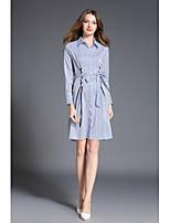 Chemise Robe Femme Décontracté / Quotidien Chinoiserie,Rayé Col de Chemise Au dessus du genou Manches Longues Polyester Printemps Automne