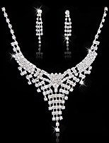 Women's Fashion Simple Style Rhinestone Silver Plated Earrings Necklace For Wedding Party Wedding Gifts