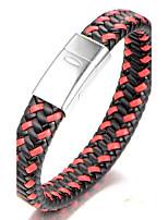 Homme Garçon Bracelets Rigides Bracelet Bijoux Mode Simple Style Acier inoxydable Cuir Forme Géométrique Bijoux Pour Quotidien