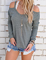 Women's Holiday Casual/Daily Simple Street chic Fall Winter T-shirt,Solid Strap Long Sleeves Polyester