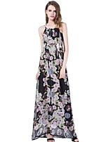 Women's Plus Size Boho Street chic Swing Dress,Floral Strap Maxi Sleeveless Polyester Summer High Rise Inelastic Medium