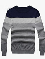 Men's Casual/Daily Regular Pullover,Solid Round Neck Long Sleeves Cotton Fall Thin Micro-elastic