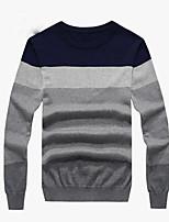 Standard Pullover Da uomo-Casual Tinta unita Rotonda Manica lunga Cotone Autunno Sottile Media elasticità