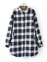 Для женщин На выход На каждый день Весна Осень Рубашка Рубашечный воротник,Секси Простое Уличный стиль Однотонный Полоски Шахматка