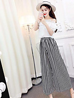 Women's Going out Simple Summer T-shirt Pant Suits,Solid Striped Boat Neck Short Sleeve