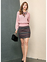 Women's Going out Cute Fall T-shirt Skirt Suits,Print Round Neck Long Sleeve Micro-elastic