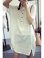 Women's Going out Simple Summer Shirt,Solid Shirt Collar Half Sleeves Others Thin
