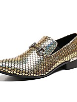 Men's Shoes Cowhide Nappa Leather Spring Fall Comfort Loafers & Slip-Ons For Wedding Party & Evening Gold