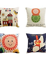 4 pcs Cotton/Linen Pillow Case Bed Pillow Body Pillow Travel Pillow Sofa Cushion Novelty Pillow,Art Deco Cartoon Graphic Prints Artistic