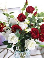 flanelle de bouquet artificiel fleur de rose pour décoration 5 branches