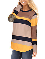 Women's Going out Casual/Daily Simple Street chic Spring Fall T-shirt,Striped Color Block Round Neck Long Sleeves Polyester Medium