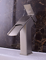 Contemporary Deck Mounted Waterfall with  Ceramic Valve Single Handle One Hole for  Nickel Brushed  Bathroom Sink Faucet