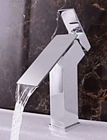 Contemporary Deck Mounted Waterfall with  Ceramic Valve Single Handle One Hole for  Chrome , Bathroom Sink Faucet