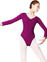 Balé Mulheres Apresentação Fibra Sintética 1 Peça Manga Comprida Natural Malha Collant