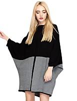 Largo Lavorato a mano Vestito Da donna-Per uscire Casual Moda città Punk & Gotico Sofisticato Monocolore Rotonda Sopra il ginocchio