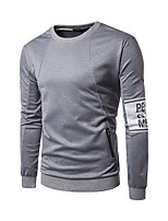 Men's Casual/Daily Simple Sweatshirt Solid Round Neck Micro-elastic Polyester Long Sleeve Spring Fall