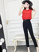 Women's Casual/Daily Simple Summer Tank Top Pant Suits,Solid Round Neck Sleeveless Micro-elastic