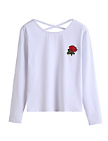 Women's Holiday Casual/Daily Simple Street chic Fall T-shirt,Embroidery Round Neck Long Sleeves Polyester