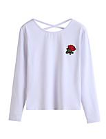 Tee-shirt Femme,Broderie Vacances Décontracté / Quotidien simple Chic de Rue Automne Manches Longues Col Arrondi Polyester