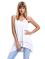 Women's Going out Casual/Daily Sexy Summer Tank Top,Solid V Neck Sleeveless Polyester Spandex Medium