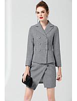 ZRANFANG Women's Going out Street chic Fall Shirt Skirt SuitsColor Block Shirt Collar Long Sleeve Micro-elastic