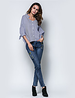 Women's Holiday Casual/Daily Street chic Fall Winter Shirt,Plaid Stand 3/4 Length Sleeves Polyester