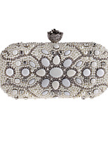 Women Bags All Seasons Polyester Evening Bag Crystal Detailing Flower(s) Pearl Detailing for Wedding Event/Party White
