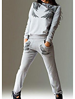Women's Sports Vintage Spring Summer T-shirt Pant Suits,Color Block Round Neck Long Sleeve