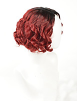 Women Synthetic Wig Capless Medium Loose Wave Black/Red Ombre Hair Dark Roots Middle Part Natural Wigs Costume Wig