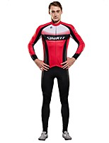 SPAKCT Cycling Jersey with Tights Men's Long Sleeves Bike Clothing Suits Breathability YKK Zipper Stretchy Nylon Chinlon Elastane Terylene
