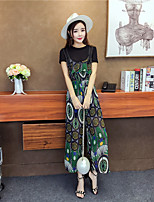 Women's Going out Simple Summer T-shirt Pant Suits,Print Round Neck Short Sleeve Stretchy