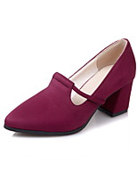 Women's Shoes Fleece Spring Fall Comfort Heels Chunky Heel Pointed Toe For Outdoor Office & Career Burgundy Dark Blue Black