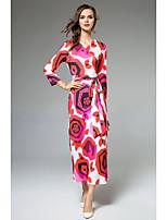Attillato Fodero Vestito Da donna-Casual Ufficio Moda città Stoffe orientali Sofisticato Fantasia floreale A V Maxi Manica lunga