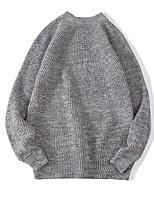 Herren Standard Pullover-Lässig/Alltäglich Solide Rundhalsausschnitt Langarm Andere Frühling Winter Mittel Mikro-elastisch