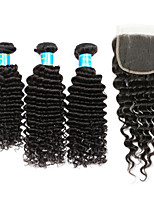 Human Hair Vietnamese Hair Weft with Closure Deep Wave Hair Extensions Four-piece Suit Black