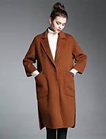 ZIYI Women's Going out Casual/Daily Street chic Fall Winter Coat,Solid Notch Lapel ¾ Sleeve Long Cotton Others