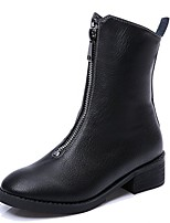 Women's Shoes PU Spring Comfort Fashion Boots Boots Round Toe Mid-Calf Boots Zipper For Casual Black