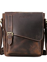 Men Bags All Seasons Cowhide Shoulder Bag Buttons for Casual Office & Career Brown