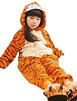 Kigurumi Pajamas Tiger Leotard/Onesie Shoes Festival/Holiday Animal Sleepwear Halloween Fashion Solid Color Embroidered Flannel Fabric