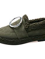 Femme Chaussures Daim Hiver boîtes de Combat Bottes Talon Plat Bout rond Pour Décontracté Noir Vert Véronèse