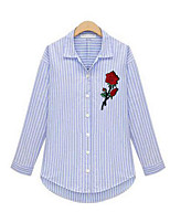 Women's Holiday Casual/Daily Simple Street chic Shirt,Striped Embroidery Shirt Collar Long Sleeves Polyester
