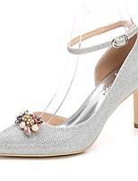 Femme Chaussures Paillette Brillante Printemps Automne Escarpin Basique Bride de Cheville Chaussures de mariage Talon Aiguille Bout pointu