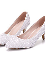 Women's Shoes Real Leather All Season Comfort Novelty Wedding Shoes Pointed Toe For Wedding Party & Evening White