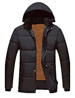 Men's Padded Coat,Simple Plus Size Casual/Daily Solid-Rayon Polyester Polypropylene Long Sleeves