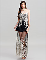 Sheath / Column Strapless Floor Length Polyester Formal Evening Wedding Party Dress with Sequins Embroidered by Z&X