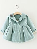Girls' Print Trench Coat,Cotton Fall Long Sleeve
