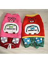 Dog Clothes/Jumpsuit Dog Clothes Casual/Daily Cartoon Orange Fuchsia